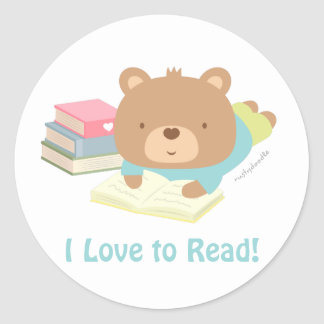 Cute Teddy Bear Loves To Read For Kids Classic Round Sticker