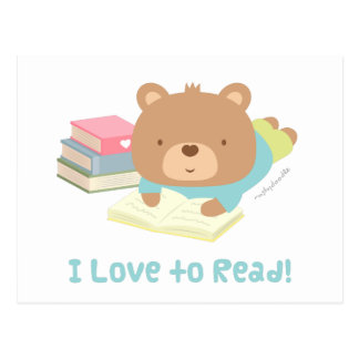 Cute Teddy Bear Loves To Read For Kids Postcard