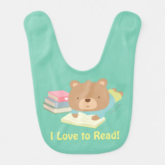 Cute Teddy Bear Loves To Read For Toddlers Baby Bib