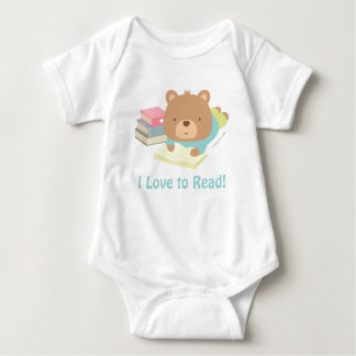 Cute Teddy Bear Loves To Read For Toddlers Baby Bodysuit