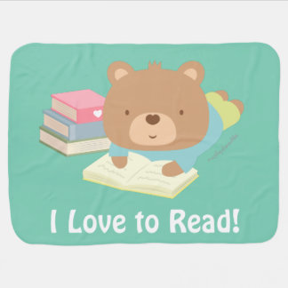 Cute Teddy Bear Loves To Read For Toddlers Stroller Blanket