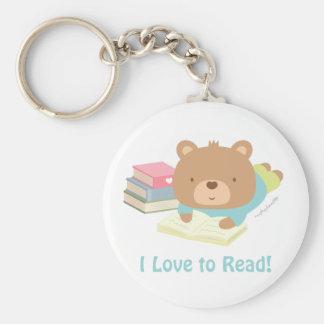 Cute Teddy Bear Loves To Read Keychain