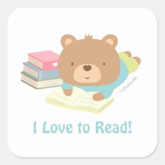 Cute Teddy Bear Loves To Read Kids Stickers