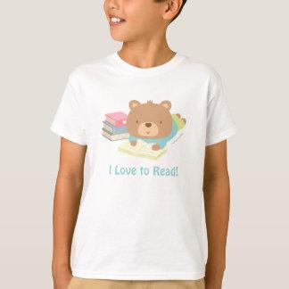 Cute Teddy Bear Loves To Read Kids Tee