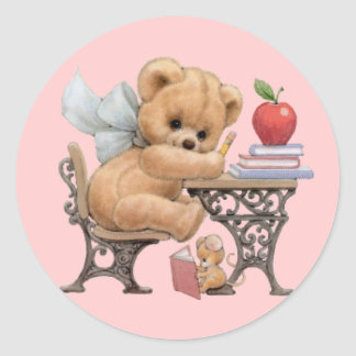 Cute Teddy Bear & Mouse Classic Round Sticker
