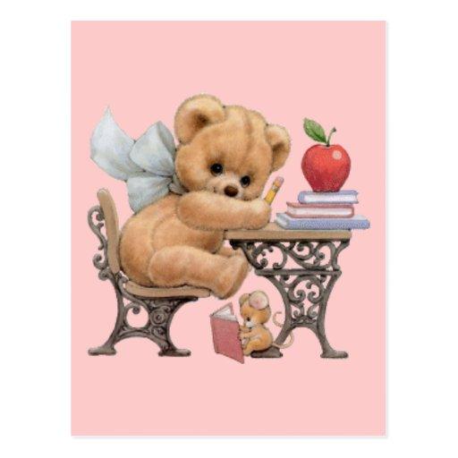 Cute Teddy Bear & Mouse Postcard