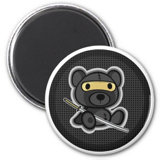 Cute teddy bear ninja samurai warrior magnet