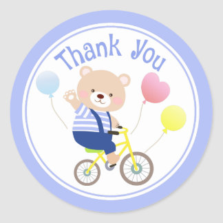 Cute Teddy Bear on Bicycle Thank You Stickers