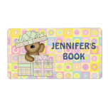 Cute Teddy Bear on pastel background book plate Shipping Label