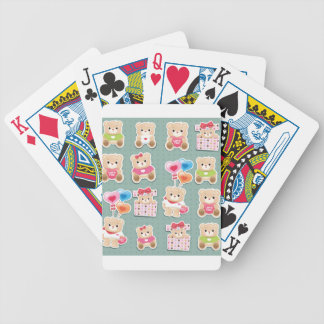 Cute teddy bear Pattern  on green background Bicycle Playing Cards