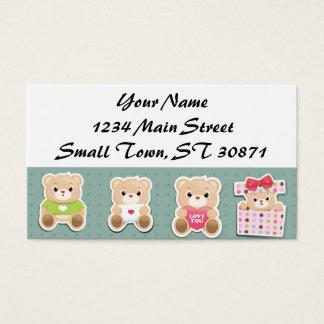 Cute teddy bear Pattern  on green background Business Card