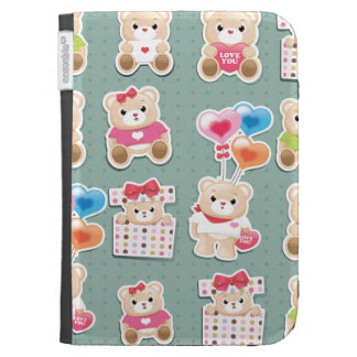 Cute teddy bear Pattern  on green background Kindle 3G Case
