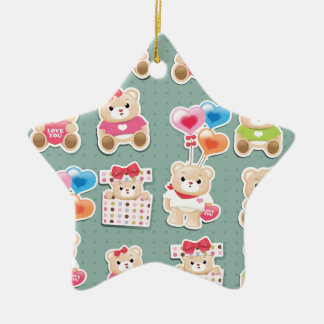 Cute teddy bear Pattern  on green background Double-Sided Star Ceramic Christmas Ornament