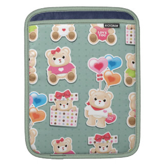 Cute teddy bear Pattern  on green background Sleeve For iPads