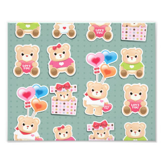 Cute teddy bear Pattern on green background Photo Print