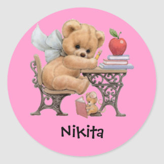 Cute Teddy Bear Personalized Name Gift Classic Round Sticker
