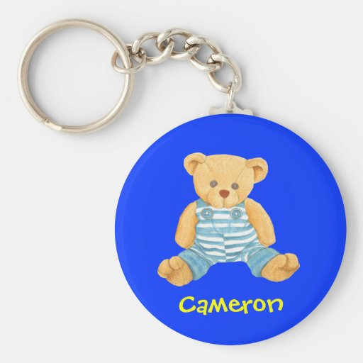 Cute Teddy Bear - Personalized Name Gift Basic Round Button Keychain