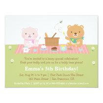 Cute Teddy Bear Picnic Birthday Party Invitations
