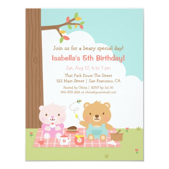 Cute teddy bear picnic outdoor kids birthday party invitation cute teddy bear picnic outdoor kids birthday party invitation filmwisefo