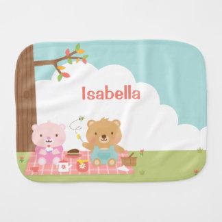 Cute Teddy Bear Picnic Party Outdoor For Babies Burp Cloth