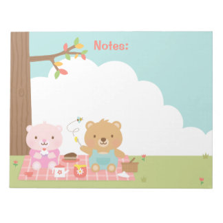 Cute Teddy Bear Picnic Party Outdoor For Kids Note Pad