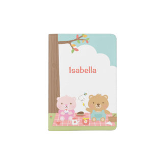 Cute Teddy Bear Picnic Party Outdoor For Kids Passport Holder