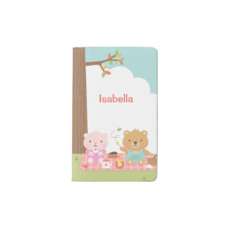 Cute Teddy Bear Picnic Party Outdoor For Kids Pocket Moleskine Notebook Cover With Notebook