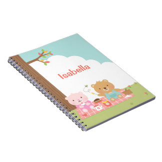 Cute Teddy Bear Picnic Party Outdoor For Kids Spiral Notebook