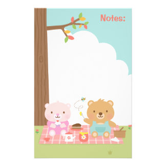 Cute Teddy Bear Picnic Party Outdoor For Kids Stationery