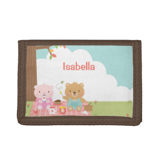 Cute Teddy Bear Picnic Party Outdoor For Kids Tri-fold Wallets