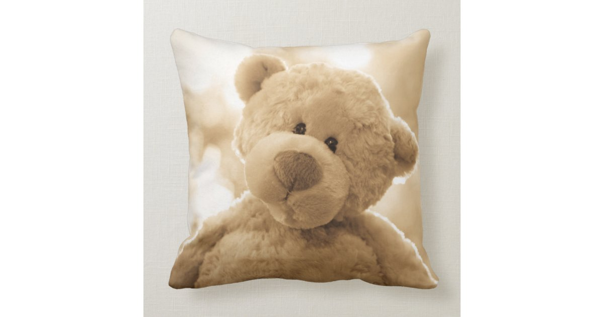 Cute Teddy Bear Pillow Poetry on the Back Zazzle