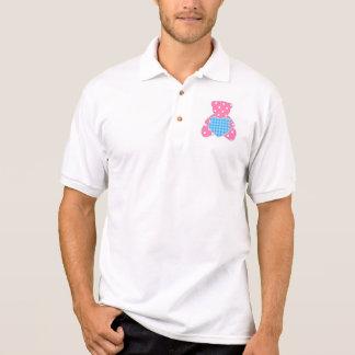 cute teddy bear pink blue girly polka dot trendy polo t-shirt