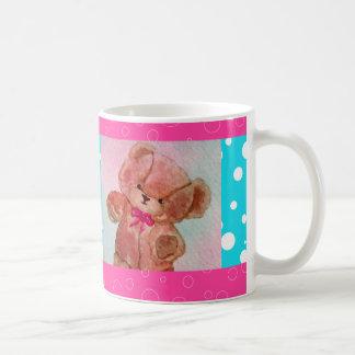 Cute Teddy Bear Pink Turquoise Happy Mug 3 Basic White Mug