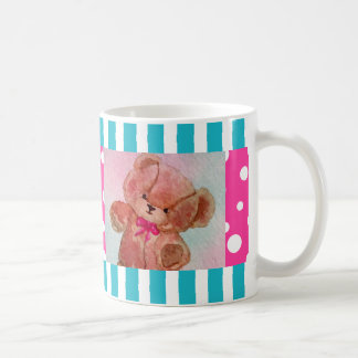Cute Teddy Bear Pink Turquoise Happy Picnic Mug 4 Basic White Mug
