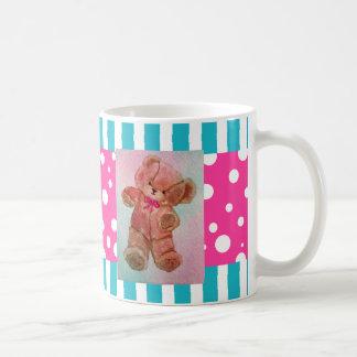 Cute Teddy Bear Pink Turquoise Happy Picnic Mug 5 Basic White Mug