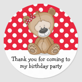 Cute Teddy Bear Polka Dots Birthday Thank You Classic Round Sticker