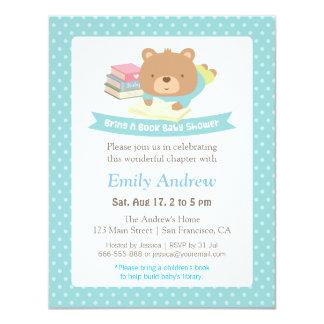 cute teddy bear polka dots book themed baby shower card