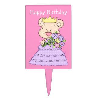 Cute Teddy Bear Princess Birthday Cake Topper