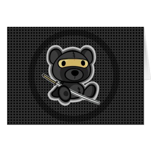 cute teddy bear samurai warrior card 01