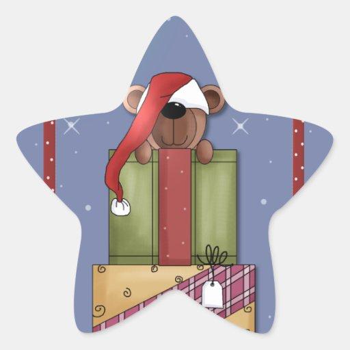 Cute Teddy Bear Santa Star Stickers
