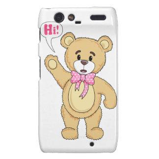 Cute Teddy Bear Saying Hi Droid RAZR Covers