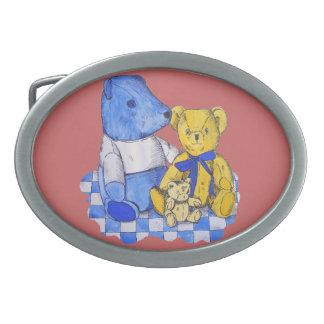 cute teddy bear still life art blue and yellow belt buckle