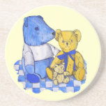 cute teddy bear still life art blue and yellow beverage coasters