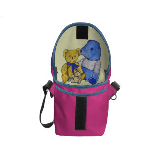 cute teddy bear still life art blue and yellow courier bags