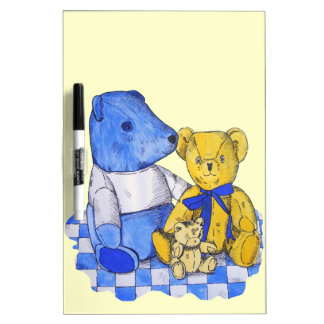 cute teddy bear still life art blue and yellow Dry-Erase boards