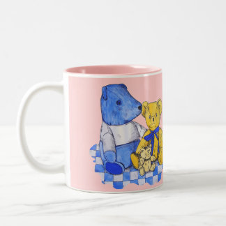cute teddy bear still life art blue and yellow mugs