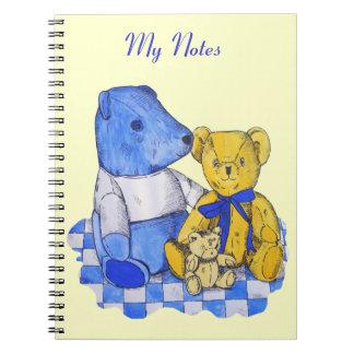cute teddy bear still life art blue and yellow notebook