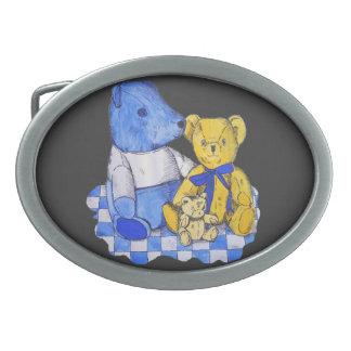cute teddy bear still life art blue and yellow oval belt buckle