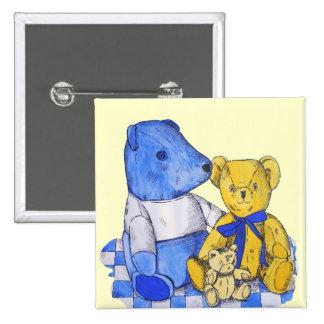 cute teddy bear still life art blue and yellow pinback button