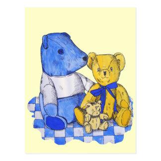 cute teddy bear still life art blue and yellow postcard